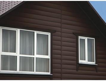 Виниловый сайдинг Двойное оцилиндрованное бревно Block-house Royal Oak